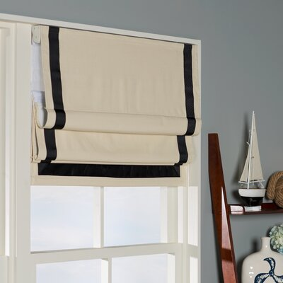 Indoor Cordless Roman Shade Color: Black/Natural, Size: 32 W x 64 L