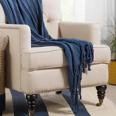 Harrisville Throw Blanket Color: Navy