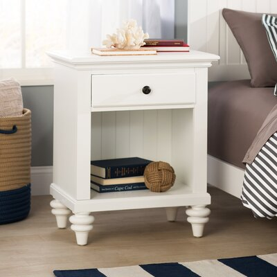 Harrison 1 Drawer Nightstand Color: Brushed White