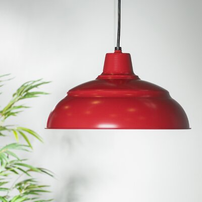 Stetson 1-Light Pendant Finish: Satin Red, Size: 9.25 H x 17 W