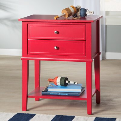 Winfield End Table With Storage Color: Red