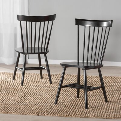 Royal Palm Beach Solid Wood Dining Chair Finish: Black