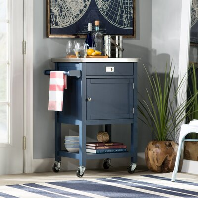 Eira Kitchen Cart with Stainless Steel Top Base Finish: Navy