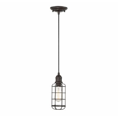 Manston 1-Light Cylindrical Shade Mini Pendant Color: English Bronze
