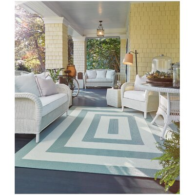 Mitscher Striped Spa Blue Area Rug Rug Size: Concentric 8 x 11