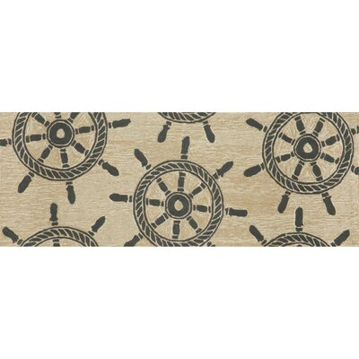 Walton Ship Wheel Neutral Indoor/Outdoor Area Rug Rug Size: 36 x 56