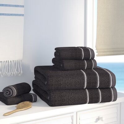 100% Cotton 6 Piece Towel Set Color: Black