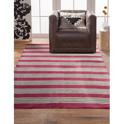 Luciana� Raspberry/Light Blue/Ivory Area Rug Rug Size: 53 x 76
