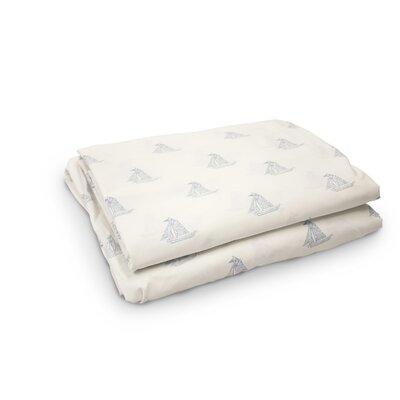 Madilynn Sailboats 200 Thread Count 3 Piece 100% Percale Cotton Sheet Set Color: Charcoal