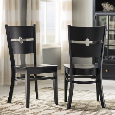 Langwater Ladder Back Solid Wood Dining Chair (Set of 2) Color: Black