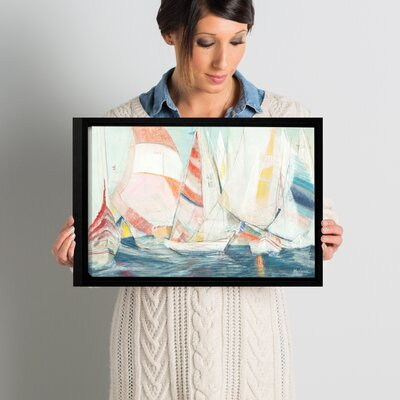 'Rounding the Mark' Framed Painting Print on Wrapped Canvas Size: 12