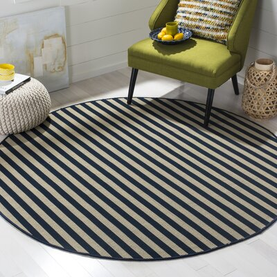 Verde Ivory/Navy Indoor/Outdoor Area Rug Rug Size: Rectangle 6 x 9