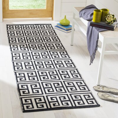 Royalton Hand-Woven Black/Ivory Area Rug Rug Size: Runner 23 x 7