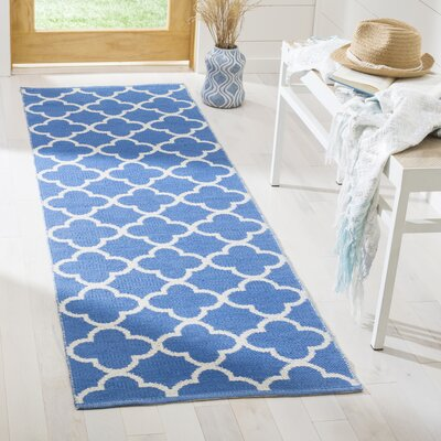 Desota Hand-Woven Blue/Ivory Area Rug Rug Size: Runner 23 x 7