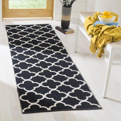 Desota Hand-Woven Black/Ivory Area Rug Rug Size: Runner 23 x 7