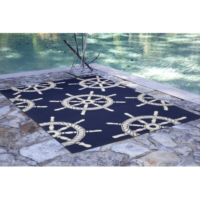 James Ship Wheel Kitchen Mat Color: Navy