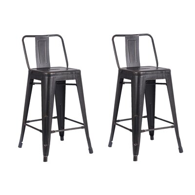 Derbyshire 24 Bar Stool Color: Distressed Sand Matte Black