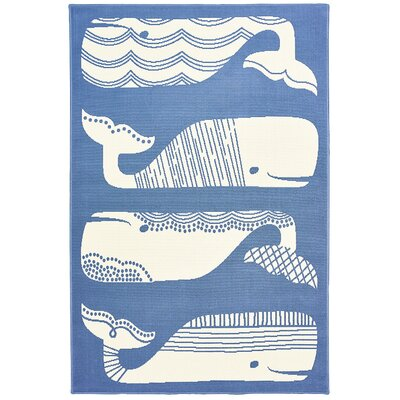 Janiyah Patterned Whales Blue/White Indoor/Outdoor Area Rug Rug Size: 5' x 7'3