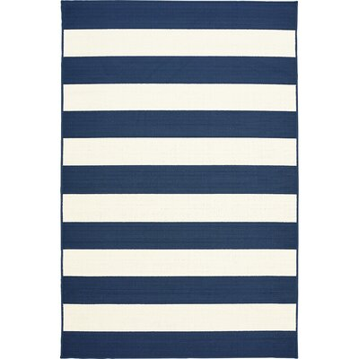 Henley Stripe Navy Indoor/Outdoor Area Rug Rug Size: 5 x 73