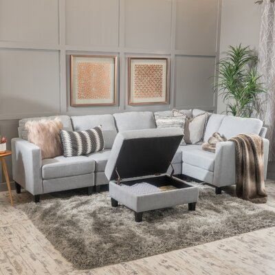 Bayard Modular Sectional Upholstery: Light Gray