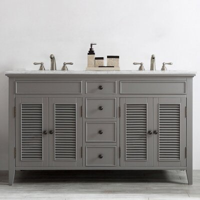 Grovetown 60 Double Vanity Set Base Finish: Grey
