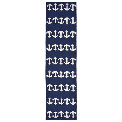 Orinda Hand-Tufted Navy Indoor/Outdoor Area Rug Rug Size: Runner 2 x 8