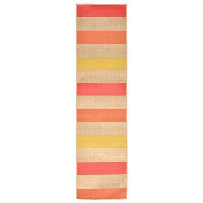 Orange Pink/Yellow Indoor/Outdoor Area Rug Rug Size: Runner 1'11