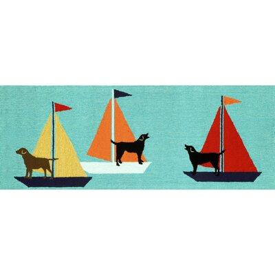 Walton Sailing Dog Area Rug Rug Size: Runner 23 x 6