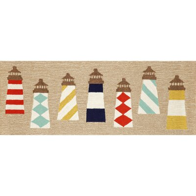 Walton Lighthouses Hand-Tufted Brown Indoor/Outdoor Area Rug Rug Size: Runner 23 x 6