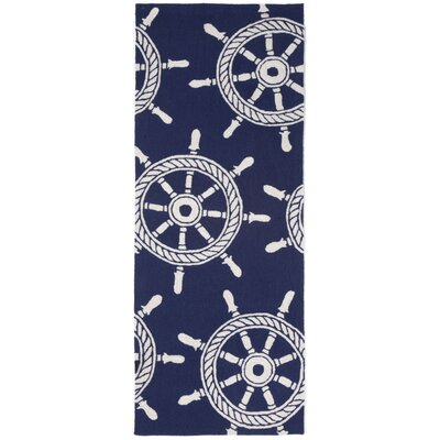 Walton Ship Wheel Navy Indoor/Outdoor Area Rug Rug Size: Runner 23 x 6