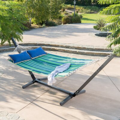 Danby Outdoor Hammock with Stand Color: Blue/Green
