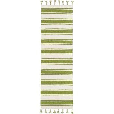 Baird Hand-Woven Ivory/Green Area Rug Rug Size: Runner 23 x 8