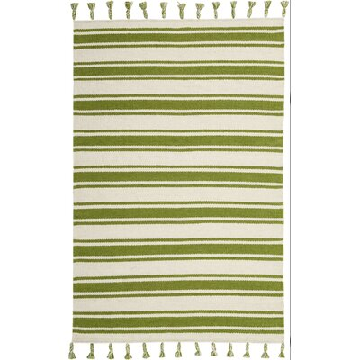 Baird Hand-Woven Ivory/Green Area Rug Rug Size: Rectangle 4 x 66