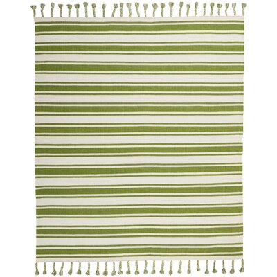 Baird Hand-Woven Ivory/Green Area Rug Rug Size: Rectangle 8 x 106