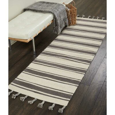 Baird Hand-Woven Ivory/Gray Area Rug Rug Size: Runner 23 x 8
