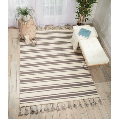 Baird Hand-Woven Ivory/Gray Area Rug Rug Size: Rectangle 5 x 76