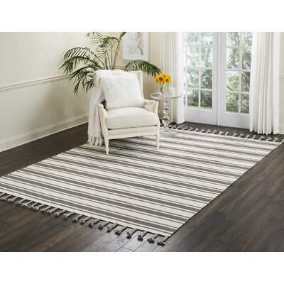 Baird Hand-Woven Ivory/Gray Area Rug Rug Size: Rectangle 8 x 106