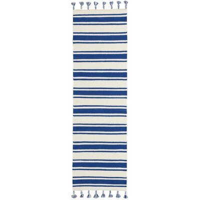 Baird Hand-Woven Ivory/Navy Area Rug Rug Size: Runner 23 x 8