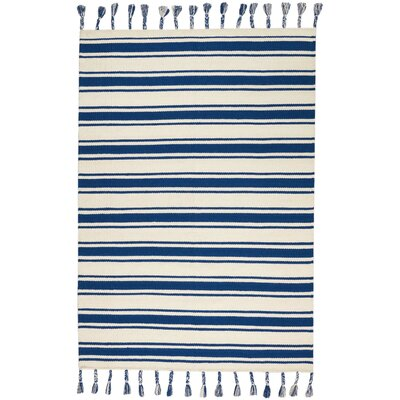 Baird Hand-Woven Ivory/Navy Area Rug Rug Size: Rectangle 5 x 76