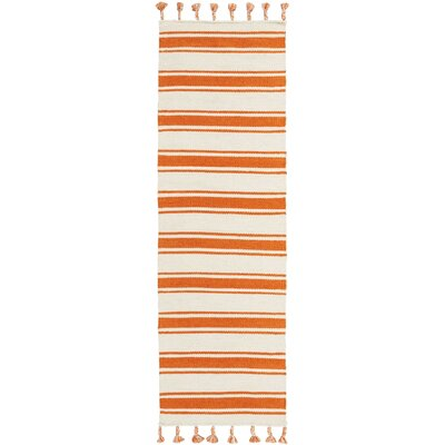 Baird Hand-Woven Ivory/Orange Area Rug Rug Size: Runner 23 x 8