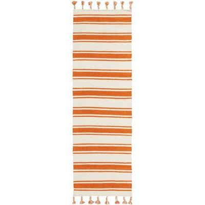 Baird Hand-Woven Ivory/Orange Area Rug Rug Size: Runner 23 x 8