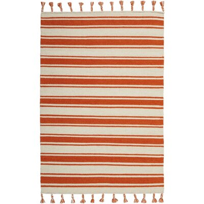 Baird Hand-Woven Ivory/Orange Area Rug Rug Size: Rectangle 4 x 66