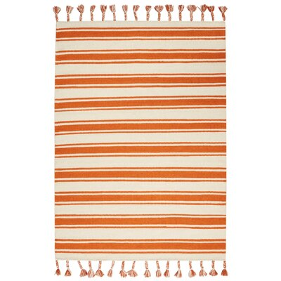 Baird Hand-Woven Ivory/Orange Area Rug Rug Size: Rectangle 5 x 76