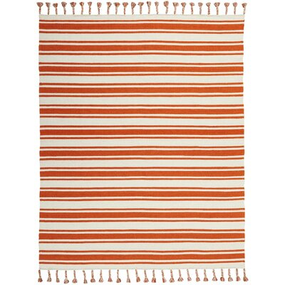 Baird Hand-Woven Ivory/Orange Area Rug Rug Size: Rectangle 8 x 106