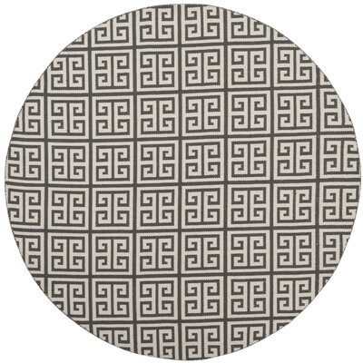 Royalton Hand-Woven Dark Gray/Ivory Area Rug Rug Size: Round 6