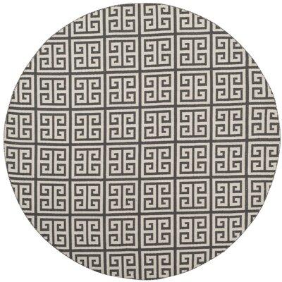 Royalton Hand-Woven Dark Gray/Ivory Area Rug Rug Size: Round 6
