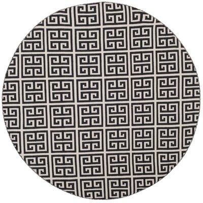 Royalton Hand-Woven Black/Ivory Area Rug Rug Size: Round 6