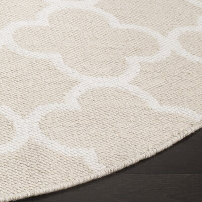 Desota Hand-Woven Beige/Ivory Area Rug Rug Size: Round 6