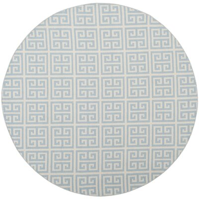Royalton Hand-Woven Light Blue/Ivory Area Rug Rug Size: Round 6