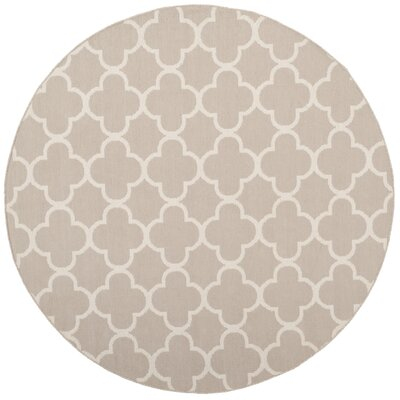 Desota Hand-Woven Gray/Ivory Area Rug Rug Size: Round 6